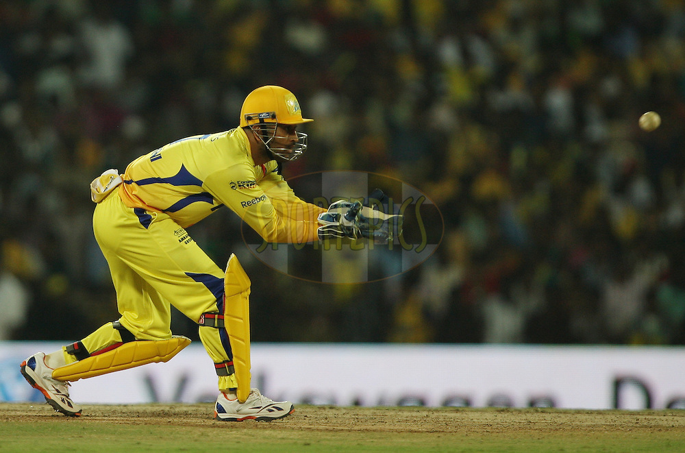 MS Dhoni during match 14 of the Indian Premier League ( IPL ) Season 4 between the Chennai Superkings and The Royal Challengers Bangalore held at the MA Chidambaram Stadium in Chennai, Tamil Nadu, India on the 16th April 2011..Photo by Jacques Rossouw/BCCI/SPORTZPICS .