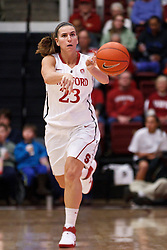 February 24, 2011; Stanford, CA, USA;  Stanford Cardinal guard Jeanette Pohlen (23) pass the ball against the Oregon State Beavers during the first half at Maples Pavilion.  Stanford defeated Oregon State 73-37.