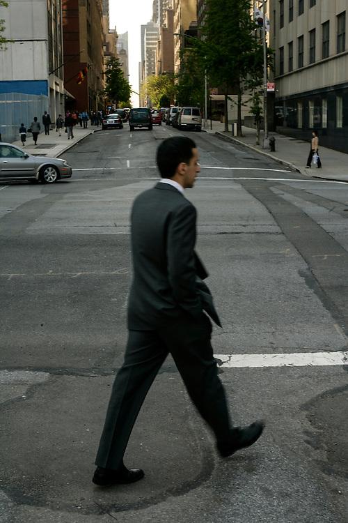 Man walking on the street in New York.
