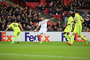 Tottenham Hostpur defender Kyle Walker (2) trying to find a way through during the Europa League match between Tottenham Hotspur and KAA Gent at Wembley Stadium, London, England on 23 February 2017. Photo by Matthew Redman.