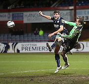 Dundee's Kostadin Gadzhalov challenges Motherwell keeper Dan Twardzik -  Dundee v Motherwell, SPFL Premiership at Dens Park <br /> <br /> <br />  - &copy; David Young - www.davidyoungphoto.co.uk - email: davidyoungphoto@gmail.com