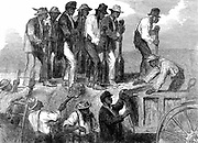 American Civil War: Negro labour strengthening the fortifications of Savannah, Georgia. From 'The Illustrated London News', 18 April 1863. Wood engraving.