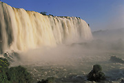 Iguazu Falls<br />Seen from Brazilian side<br />Border ARGENTINA & BRAZIL.  South America<br />Largest waterfall in the world