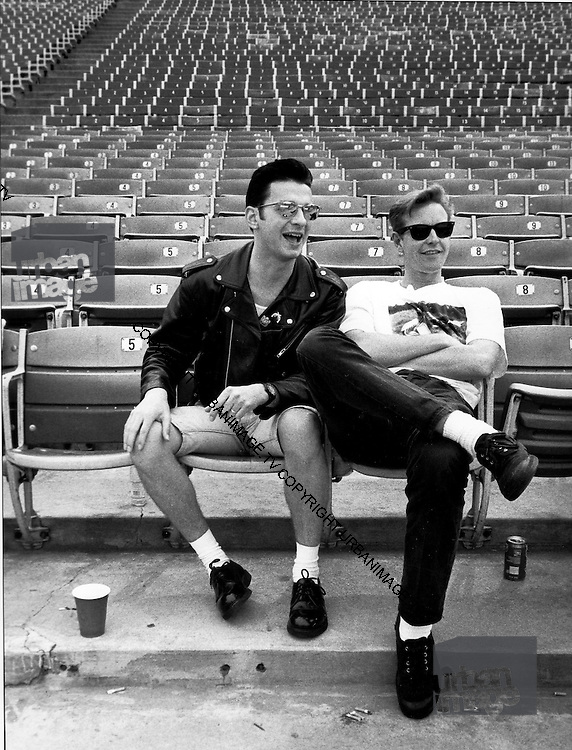 Portrait of David Gahan and Andy Fletcher of Depeche Mode, photographed at Pasadena Rose Bowl, June 1988.