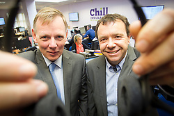 Liam O'Kelly, managing director of AirSpeed Telecom (right) pictured with Padraig Lynch Chief Executive of Chill Insurance as they announce a €500,000 3 year contract to establish a next generation contact centre for the Insurance conpany. Pic Andres Poveda