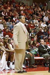 01 January 2006..Saluki Head Coach Chris Lowery seems to be a bit confused at an officials call...The Southern Illinois Saluki's chewed up the Illinois State Redbirds with 37 points in the 2nd half to beat the birds with a final score of 65-52.  An audience of just over 7500 watched the in Redbird Arena on the campus of Illinois State University in Normal Illinois.....