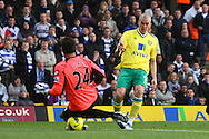 Picture by Paul Chesterton/Focus Images Ltd.  07904 640267.26/11/11.Radek ?ern? of QPR saves at the feet of Steve Morison of Norwich during the Barclays Premier League match at Carrow Road Stadium, Norwich.