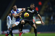 Blackburn Rovers midfielder, Ben Marshall (10) and Brighton & Hove Albion centre forward Tomer Hemed (10) during the EFL Sky Bet Championship match between Blackburn Rovers and Brighton and Hove Albion at Ewood Park, Blackburn, England on 13 December 2016.