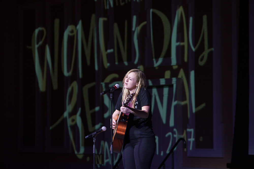 Megan Wren performs a Stevie Nicks song at the International Women's Day Festival in Baker Ballroom on Sunday, March 19, 2017. © Ohio University / Photo by Kaitlin Owens