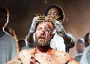 Jesus Christ Superstar <br /> by Tim Rice & Andrew Lloyd Webber <br /> at The Regent's Park Open Air Theatre, London, Great Britain <br /> press photocall<br /> 19th July 2016 <br /> <br /> Declan Bennett as Jesus <br /> <br /> Tyrone Huntley as Judas <br /> <br /> <br /> <br /> <br /> <br /> Photograph by Elliott Franks <br /> Image licensed to Elliott Franks Photography Services