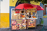A street food vendor in the historic center of Guanajuato City, Guanajuato, Mexico.