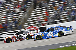 April 8, 2018 - Ft. Worth, Texas, United States of America - April 08, 2018 - Ft. Worth, Texas, USA: Kyle Larson (42) and David Ragan (38) battle for position during the O'Reilly Auto Parts 500 at Texas Motor Speedway in Ft. Worth, Texas. (Credit Image: © Chris Owens Asp Inc/ASP via ZUMA Wire)