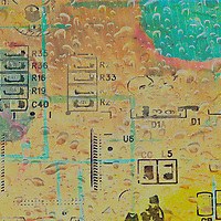 Circuit board photo enhanced with rain and color
