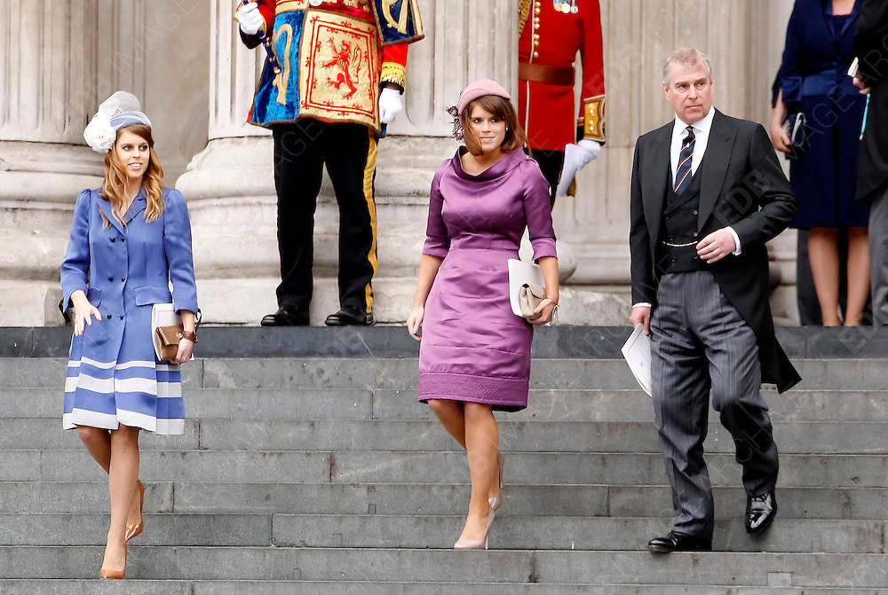 05.JUNE.2012. LONDON<br /> <br /> PRINCESS BEATRICE, PRINCESS EUGENE AND PRINCE ANDREW LEAVING THE SERVICE OF THANKSGIVING AS PART OF THE QUEEN'S DIAMOND JUBILEE CELEBRATIONS AT ST PAUL'S CATHEDRAL IN LONDON<br /> <br /> BYLINE: EDBIMAGEARCHIVE.CO.UK<br /> <br /> *THIS IMAGE IS STRICTLY FOR UK NEWSPAPERS AND MAGAZINES ONLY*<br /> *FOR WORLD WIDE SALES AND WEB USE PLEASE CONTACT EDBIMAGEARCHIVE - 0208 954 5968*