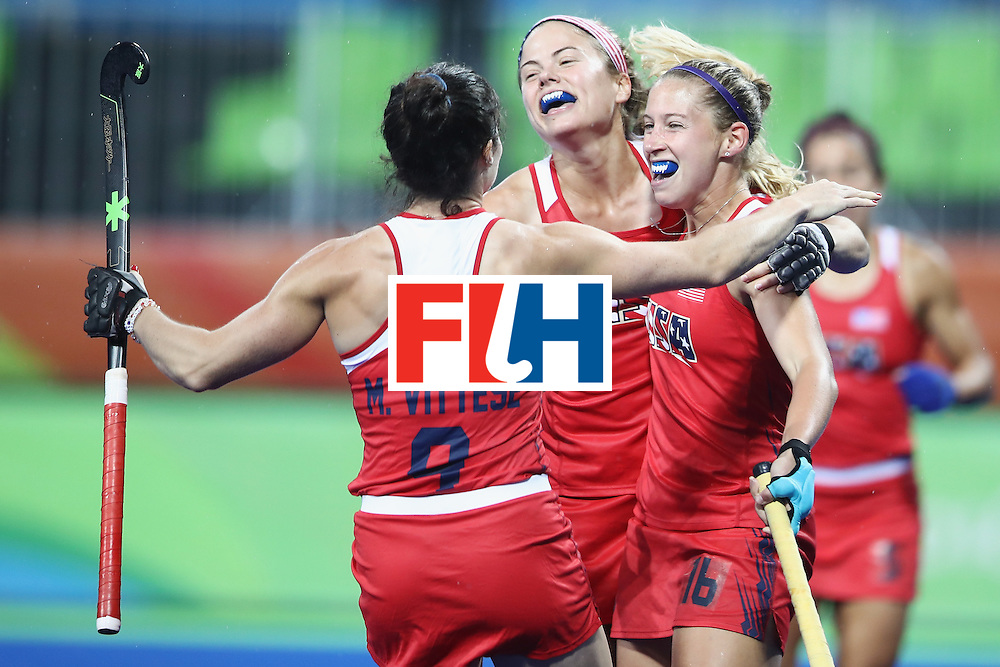 RIO DE JANEIRO, BRAZIL - AUGUST 10: Michelle Vittese, Kathleen Sharkey and Katie Bam of the United States celebrate Bam scoring a goal during the women's pool B match between the United States and Japan on Day 5 of the Rio 2016 Olympic Games at the Olympic Hockey Centre on August 10, 2016 in Rio de Janeiro, Brazil.  (Photo by Mark Kolbe/Getty Images)