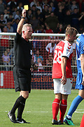 Fleetwood Town midfielder Jack Sowerby (28) is shown the yellow card during the EFL Sky Bet League 1 match between Fleetwood Town and AFC Wimbledon at the Highbury Stadium, Fleetwood, England on 4 August 2018. Picture by Craig Galloway.