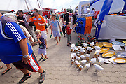 Sylt, Germany. Hörnum. 25th Hafenfest (Harbor Festival). Wooden seagulls.