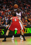 Apr 18, 2010; Phoenix, AZ, USA; Phoenix Suns guard Jason Richardson (23) is guarded by Portland Trailblazers guard Rudy Fernandez (5) during the first half in game one in the first round of the 2010 NBA playoffs at the US Airways Arena.  The Trail Blazers defeated the Suns 105-100.  Mandatory Credit: Jennifer Stewart-US PRESSWIRE