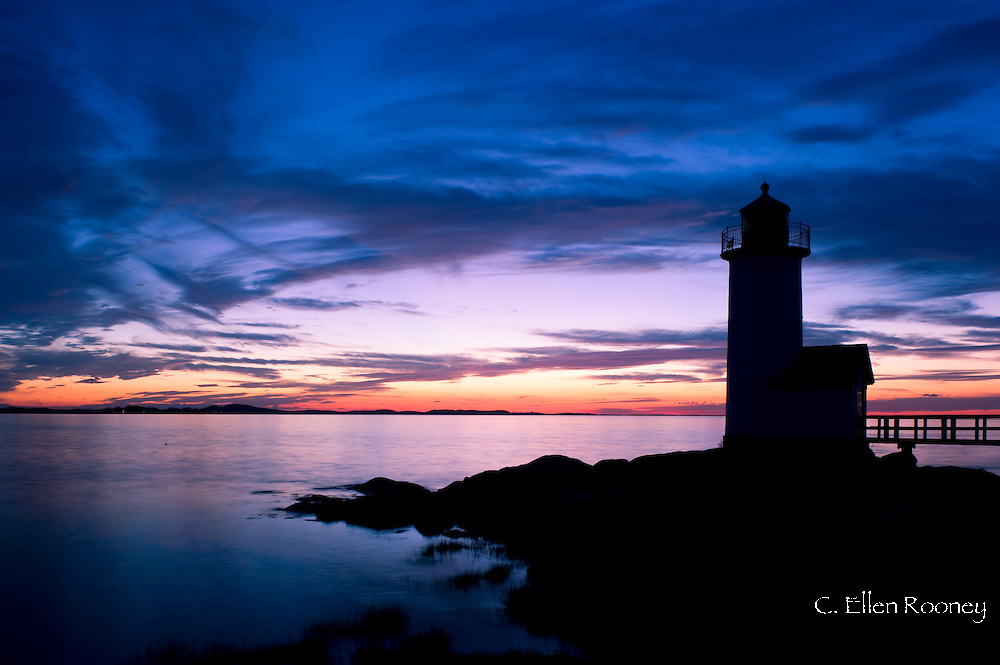 The Annisquam lighthouse at sunset, Annisquam near Rockport, Massachussetts, U.S.A.