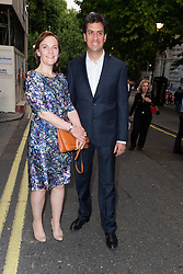 © Licensed to London News Pictures. 18/06/2015. London, UK. Ed Miliband and Justine Thornton leaving the press night for 1984 at the Playhouse Theatre, Northumberland Avenue in London tonight. Photo credit : Vickie Flores/LNP