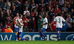 27.09.2011, Old Trafford, London, ENG, UEFA CL, Gruppe C, Manchester United (ENG) vs FC Basel (SUI), im Bild FC Basel 1893's Alexander Frei celebrates scoring the equalising 2-2 goal against Manchester United with team-mate Granit Xhak, Jacques Zoua and Park Joo Hoa // during the UEFA Champions League game, group C, Manchester United (ENG) vs FC Basel (SUI) at Old Trafford stadium in London, United Kingdom on 2011/09/27. EXPA Pictures © 2011, PhotoCredit: EXPA/ Propaganda Photo/ David Rawcliff +++++ ATTENTION - OUT OF ENGLAND/GBR+++++