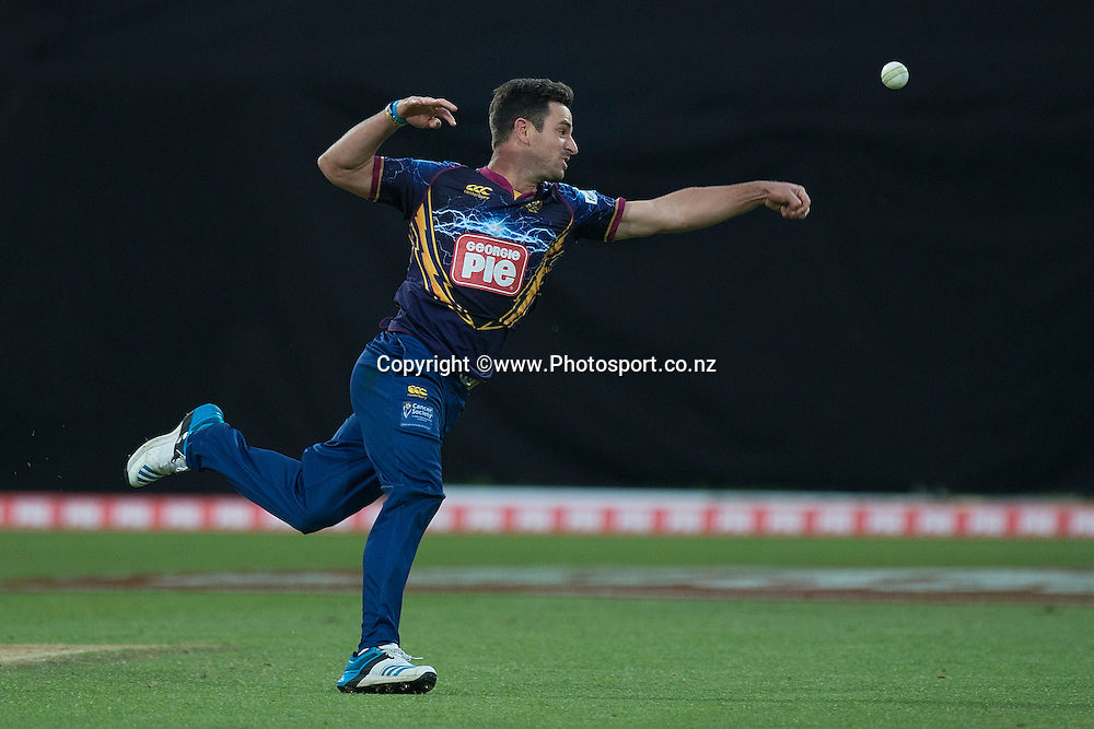 Ryan ten Doeschate of the Volts jumps for a catch during the Georgie Pie Super Smash Volts v Knights cricket match at the Westpac Stadium in Wellington on Sunday the 23rd of November 2014. Photo by Marty Melville/www.Photosport.co.nz