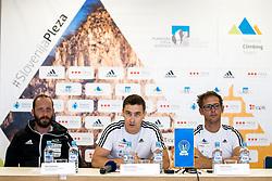 Urh Cehovin, Gorazd Hren and Luka Fonda at press conference of PZS before IFSC Climbing World Championships Hachioji (JPN) 2019, on August 1, 2019 in PZS, Ljubljana, Slovenia. Photo by Matic Klansek Velej / Sportida