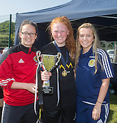 Scotland Youth Internationals Abbi Grant and Carla Jackson present the under 17s East Region League Cup to Jeanfield captain Ellie Cowie - Forfar Farmington (red) v Jeanfield Girls (black) - Under 17 East Region Girls League Cup Final at University Grounds, Riverside<br /> <br />  - &copy; David Young - www.davidyoungphoto.co.uk - email: davidyoungphoto@gmail.com