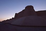 Uzbekistan, Khiva. Khuna Ark at dawn.