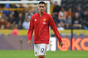 Manchester United player Chris Smalling (12) warming up before the Premier League match between Hull City and Manchester United at the KCOM Stadium, Kingston upon Hull, England on 27 August 2016. Photo by Ian Lyall.