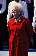 First Lady Barbara Bush at an event on the South Lawn of the White House in May 1991<br /> Photo by Dennis Brack