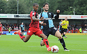Joe Jacobson prepares to block Lewis Young's ball into the area during the Sky Bet League 2 match between Crawley Town and Wycombe Wanderers at the Checkatrade.com Stadium, Crawley, England on 29 August 2015. Photo by Michael Hulf.