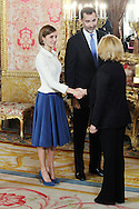 King Felipe VI of Spain and Queen Letizia of Spain attended the lunch in ocassion of the '2014 Cervantes Award' at the Royal Palace on April 22, 2015 in Madrid, Spain