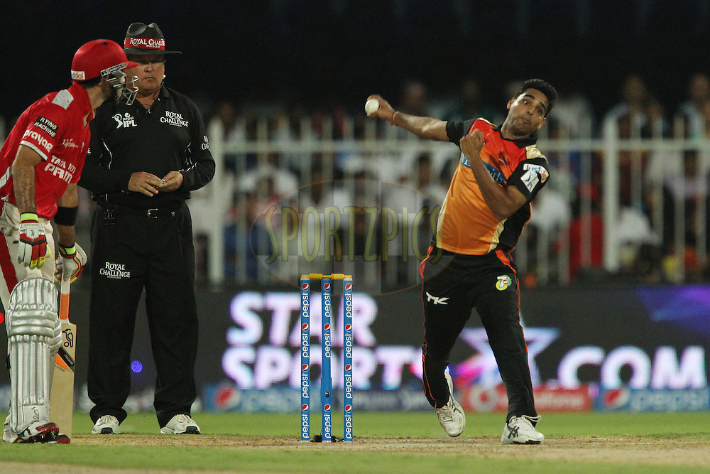 Bhuvneshwar Kumar of the Sunrisers Hyderabad during match 9 of the Pepsi Indian Premier League 2014 between the The Kings XI Punjab and the Sunrisers Hyderabad held at the Sharjah Cricket Stadium, Sharjah, United Arab Emirates on the 22nd April 2014<br /> <br /> Photo by Ron Gaunt / IPL / SPORTZPICS