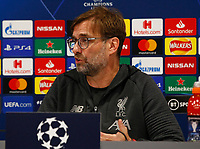 Football - 2019 / 2020 season - Liverpool training & press conference pre-Atletico Madrid<br /> <br /> Liverpool manager Jurgen Klopp speaking to the media during today's press conference ahead of tomorrow's Champions League match against Atletico Madrid, at Anfield.<br /> <br /> COLORSPORT/ALAN MARTIN
