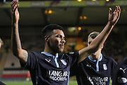 Phil Roberts celebrates after firing in the shot which was deflected into his own net by Partick Thistle's Conrad Balatoni for Dundee's last gasp equaliser - Partick Thistle v Dundee - SPFL Premiership at Dens Park<br /> <br />  - &copy; David Young - www.davidyoungphoto.co.uk - email: davidyoungphoto@gmail.com