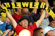 Burton Albion fans celebrate their 2-1 win over Chesterfield at the Proact stadium, Chesterfield, England on 26 September 2015. Photo by Aaron Lupton.