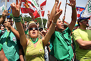 Supporters of Lega Nord (Northern League party) during the speach of Umberto Bossi, Federal Secretary of Lega Nord at a meeting in Pontida, Sunday, June 14, 2009.