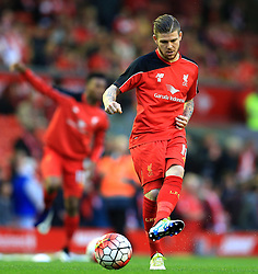 Alberto Moreno of Liverpool warms up - Mandatory byline: Matt McNulty/JMP - 11/05/2016 - FOOTBALL - Anfield - Liverpool, England - Liverpool v Chelsea - Barclays Premier League