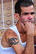 Man with tattoo in Baracoa, Guantanamo, Cuba.