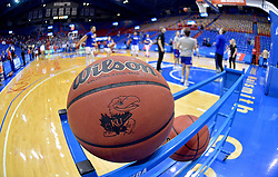 Feb 17, 2020; Lawrence, Kansas, USA; A general view of a Kansas Jayhawks basketball as the team warms up before the game against the Iowa State Cyclones at Allen Fieldhouse. Mandatory Credit: Denny Medley-USA TODAY Sports