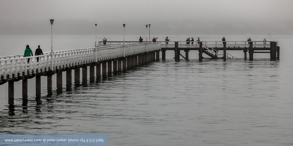 Orakei wharf on a misty morning. Auckland New Zealand.