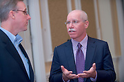 """19068Scripps Day: Keynote Speaker Rich Boehne, President and CEO of The E.W. Scripps Company..""""The Future of the Communications Industry""""..Rich Boehne, President and CEO of The E.W. Scripps Company.and Tim King (left), A Scripps emplyoyee"""
