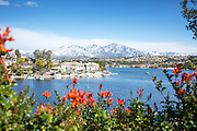 Scenic Lake Mission Viejo with Snow on Santiago Peak Mountains