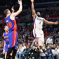 07 November 2016: Los Angeles Clippers guard Raymond Felton (2) goes for the jump shot over Detroit Pistons forward Jon Leuer (30) during the LA Clippers 114-82 victory over the Detroit Pistons, at the Staples Center, Los Angeles, California, USA.