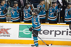 November 30, 2010; San Jose, CA, USA;  San Jose Sharks right wing Dany Heatley (15) celebrates with teammates after scoring a goal against the Detroit Red Wings during the first period at HP Pavilion. Mandatory Credit: Jason O. Watson / US PRESSWIRE