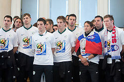 Branko Ilic, Marko Suler, Milivoje Novakovic, Robert Koren, Elvedin Dzinic, Valter Birsa, Samir Handanovic, Andrej Komac, Anton Zlogar and Matej Mavric at Reception of Slovenian National football team at president of Republic of Slovenia dr. Danilo Turk after Slovenia qualified for the FIFA World Cup South Africa 2010, in President's place , Ljubljana, Slovenia.   (Photo by Vid Ponikvar / Sportida)