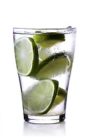 Close-up of drink with lime slices
