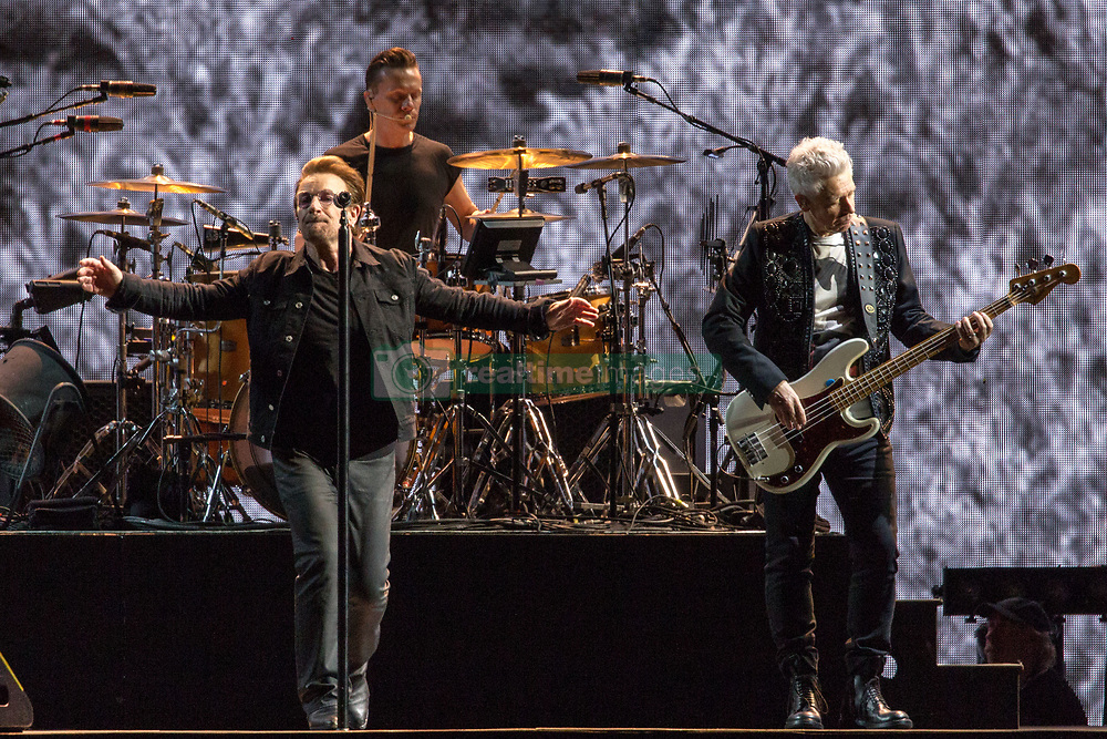 June 4, 2017 - Chicago, Illinois, U.S - BONO, LARRY MULLEN JR. and ADAM CLAYTON of U2 during 30th Anniversary of the The Joshua Tree Tour at Soldier Field in Chicago, Illinois (Credit Image: © Daniel DeSlover via ZUMA Wire)