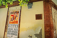 A sign advertising a bullfight in the Malaga Bullring, Andalucia, Spain